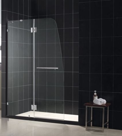 46 X 72 Hinged Shower Door W Stationary Side Glass Panel Shower
