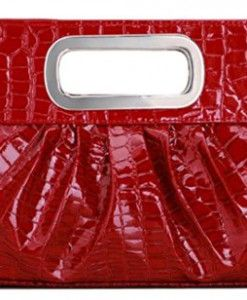 Chicastic-Oversized-Glossy-Patent-Leather-Casual-Evening-Clutch-Purse-with-Metal-Grip-Handle-Red-0