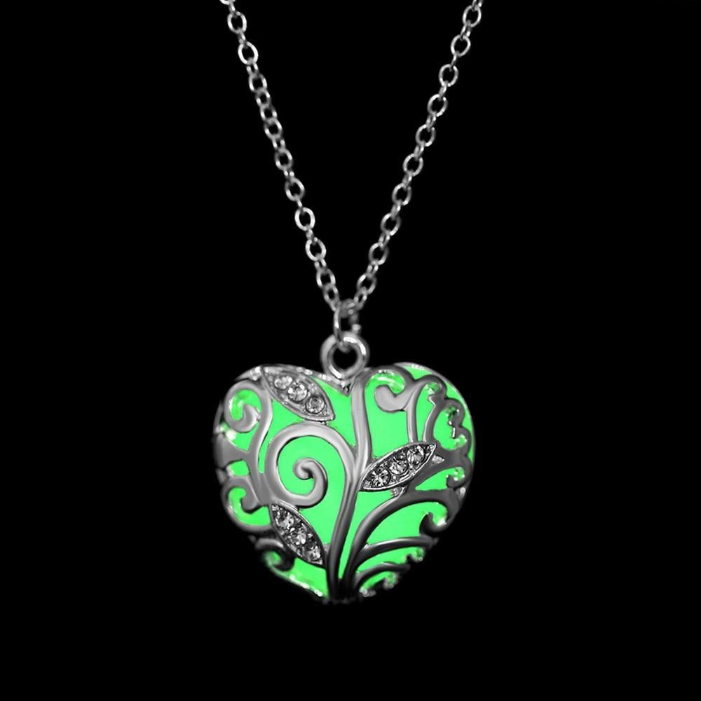 Glow In The Dark Heart Life Tree Steampunk Locket Pendant Necklace Jewellery