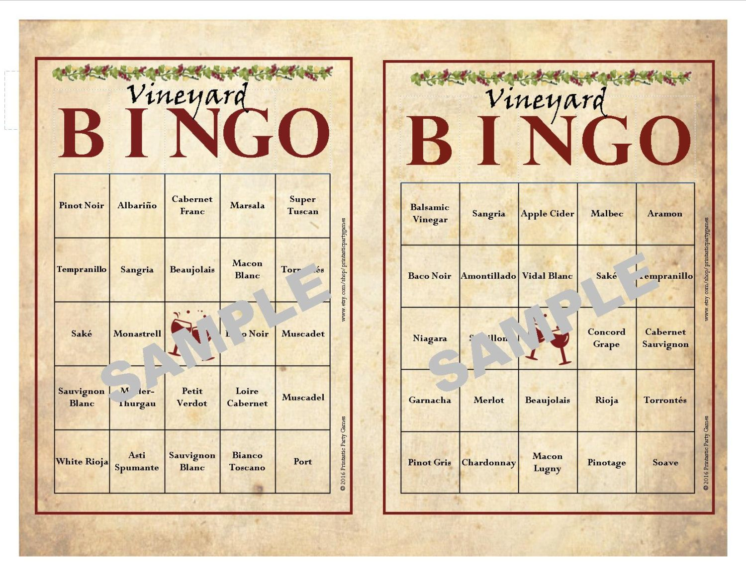 photo regarding Wine Tasting Games Printable titled 30 Printable Winery BINGO Playing cards, Immediate Obtain, Wine