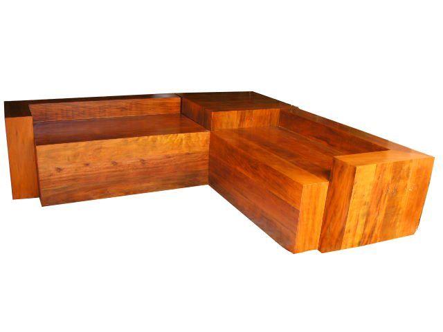 Sof r stico em madeira de demoli o c d 1436 bancos e for Sofa cama rustico