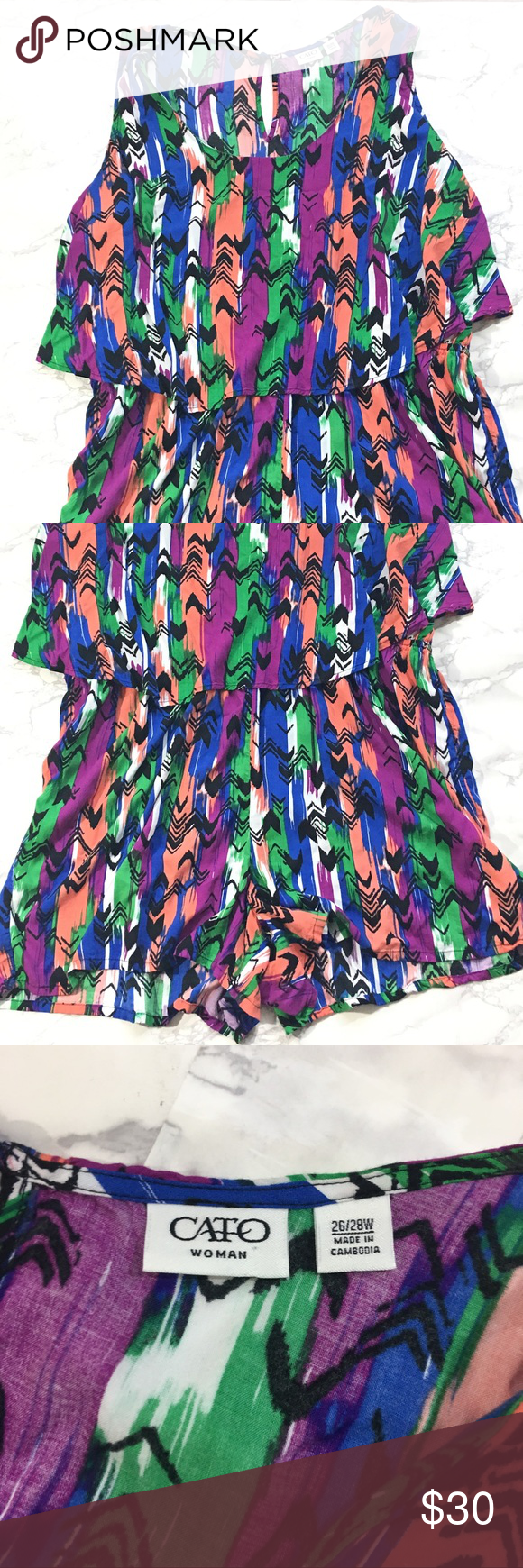 "Cato Plus size one piece shorts romper This one piece romper is in great condition. Perfect for summer. Cato womens plus size 26/28W.  Coral, Purple, Green, Blue, Black and White. Sleeveless.   Measurements taken while laying flat:  16.5"" Shoulder to shoulder 28"" Chest 36"" Length 19.5"" Waist 28"" Hips 4"" Inseam Cato Shorts"