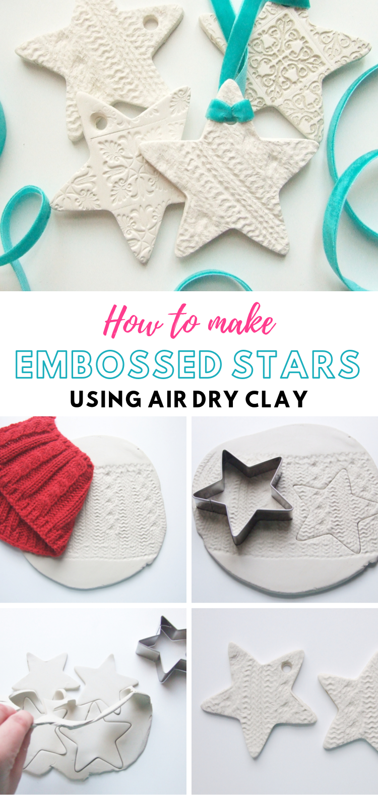 Diy Embossed Clay Star Decorations Gathering Beauty Clay Crafts For Kids Clay Christmas Decorations Clay Crafts