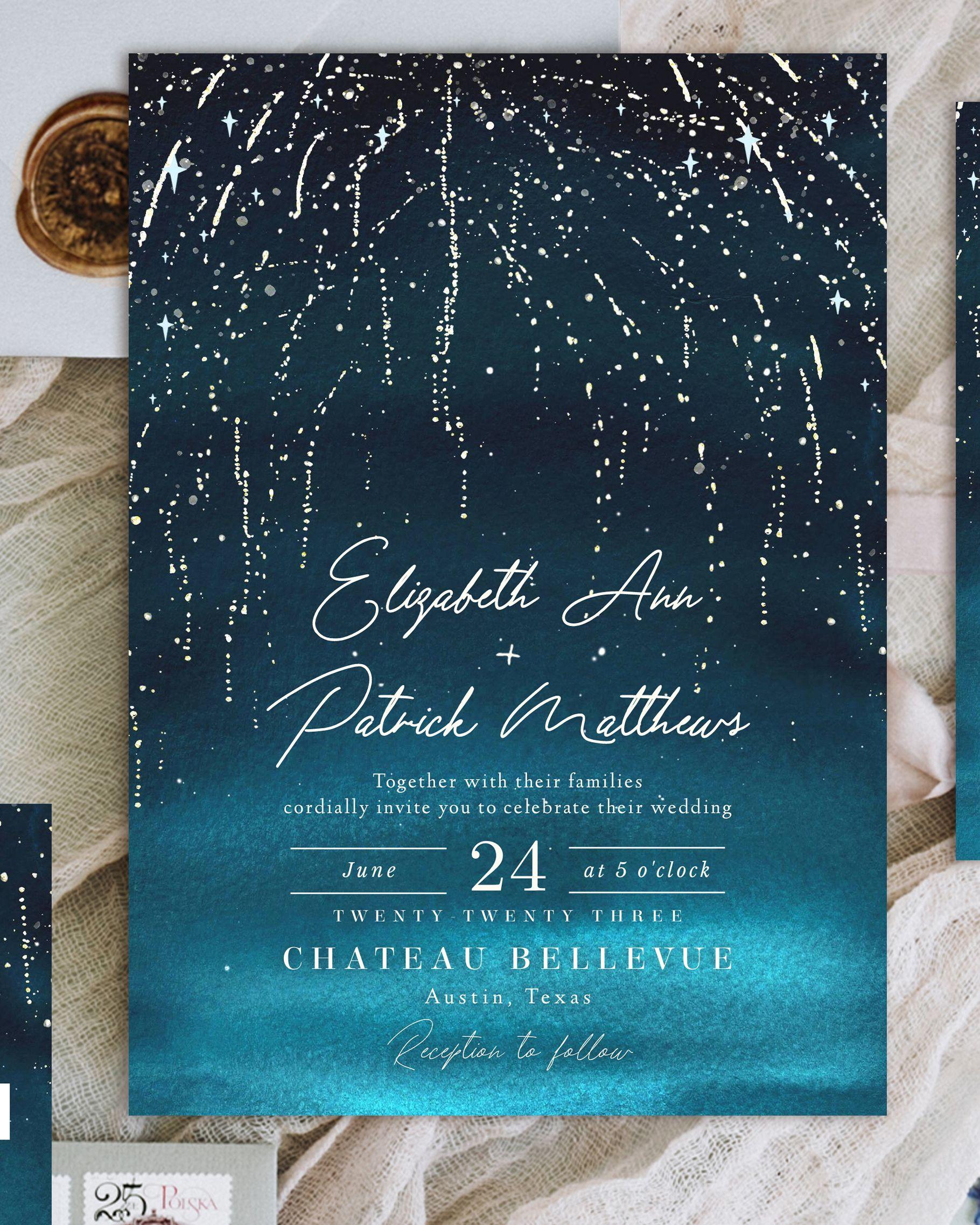 Golden Sparks Wedding Invitation Suite Fireworks Fairytale Etsy In 2020 Fireworks Wedding Invitations Stars Wedding Invitations Wedding Invitations
