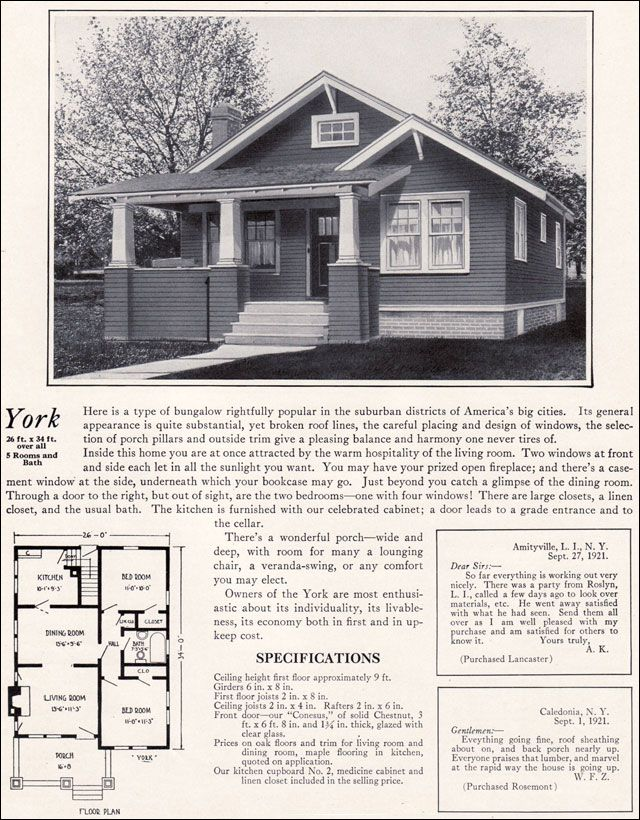 1920s Modern Bungalow 1922 York By Bennett Homes Kit Houses Craftsman Bungalow House Plans Modern Bungalow House Plans Modern Bungalow House