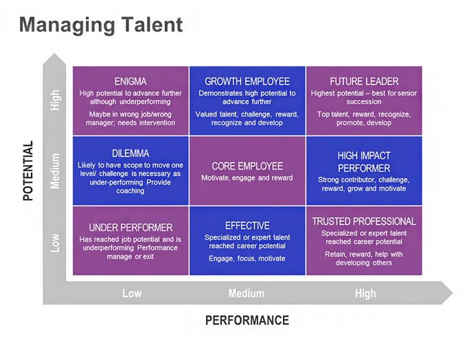 Managing Talent  Performance Vs Potential Matrix Single Slide