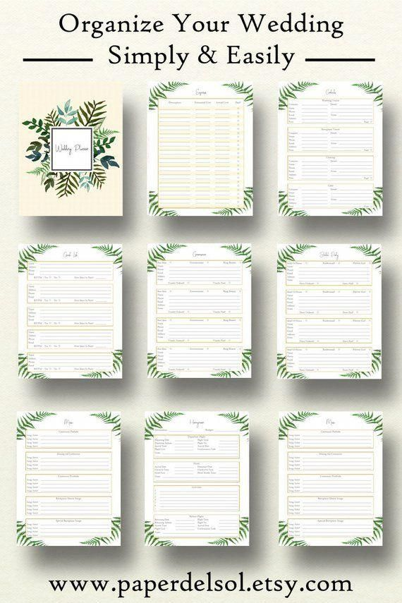 Wedding Planner Book, Wedding Planner Printable, Planning Binder Printables, Checklist Planning ...