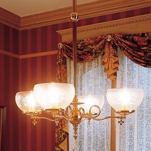 "victorian light fixtures | Victorian Style Delavan™ Four-Light Chandelier 4-1/4"" shade holder"