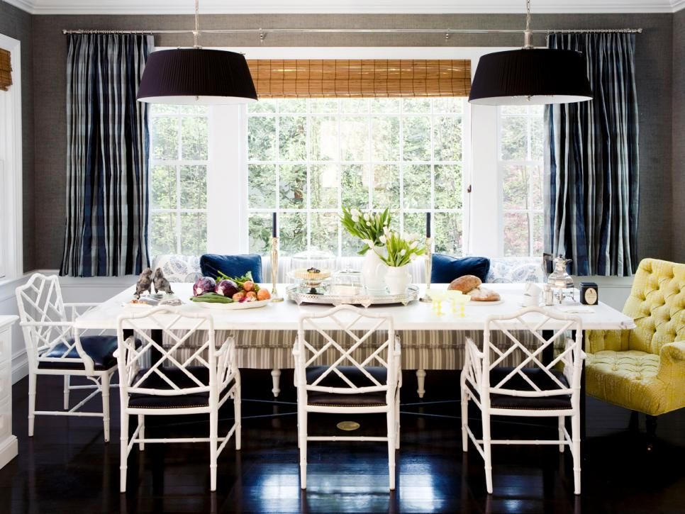 A Good Set Of Window Treatments Can Do Wonders For A Room That Doesn T Feel Totally Complete From S Nautical Dining Rooms Navy Interior Design Interior Design