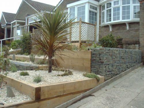 Front Garden Terracing With Wooden Sleepers And Stone Filled Gabions Sleepers In Garden Wooden Sleeper Front Garden