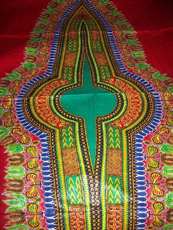 Red With Green Dashiki 6 Yards dashiki fabric/ by tambocollection