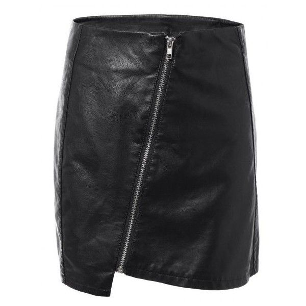 Faux Leather Zipper Asymmetric Skirt (785 RUB) ❤ liked on Polyvore featuring skirts, asymmetrical zipper skirt, asymmetrical zip skirt, asymmetrical skirt, zip skirt and zipper skirt