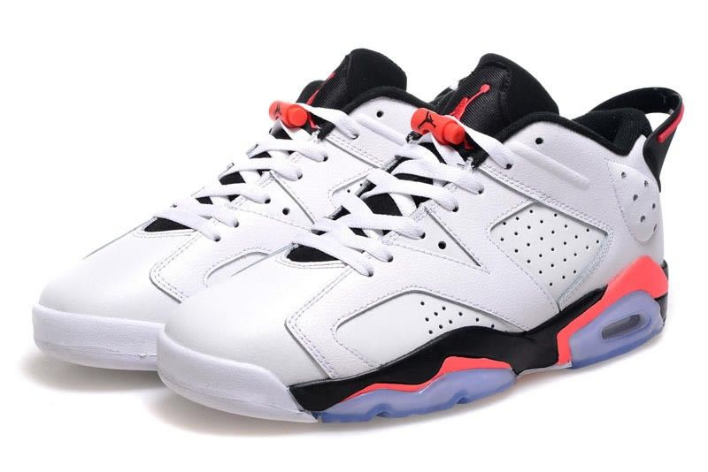 2015 Cheap Real Air Jordan 6 Low White Black Red Shoes