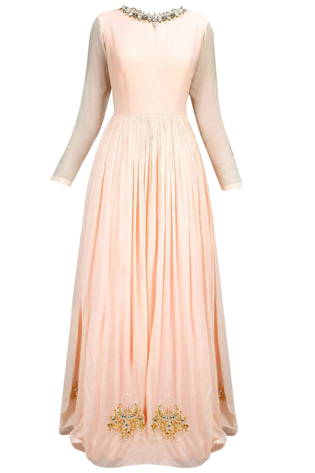 Peach and mint chandbali embroidered anarkali set available only at