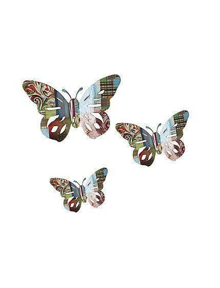 wanddecoratie drie vlinders van aluminium met folie