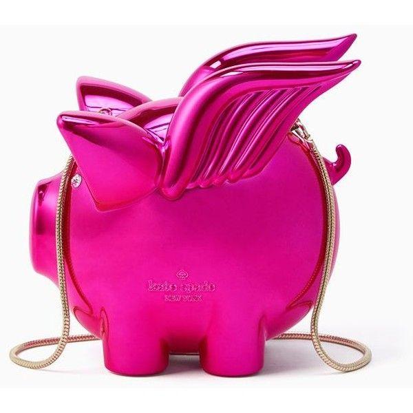 Kate Spade Imagination Flying Pig Clutch featuring polyvore, women's fashion, bags, handbags, clutches, kate spade, pink clutches, kate spade purses, pink purse and kate spade handbag