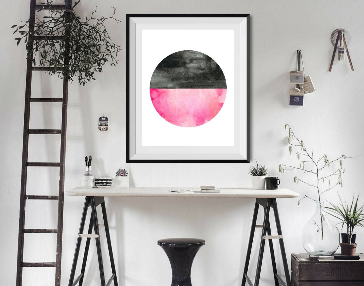 Art Print, FREE Shipping, Watercolor Art, Abstract Art, Geometric Art, Modern Art, Circle Art, Scandinavian Design, Black/Pink, 8x10, 11x14 by BrightAndBonny on Etsy