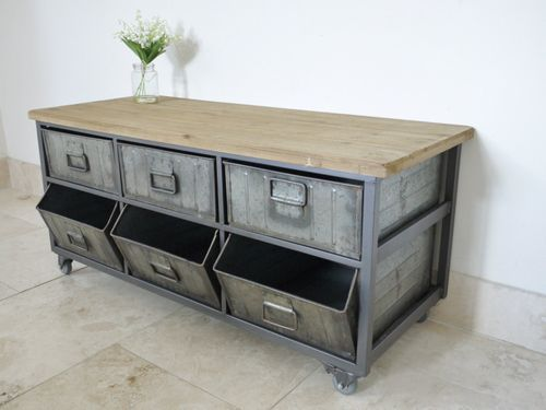 Large Retro Industrial Metal Wood Storage Unit Cabinet