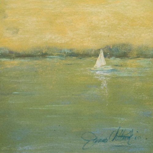 """Just bought this lovley painting by Janice Millar Chiddick, can't wait to hang it! Sunset Sailing 