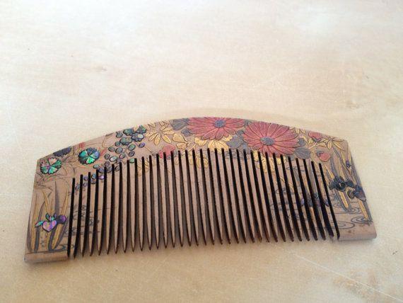Extraordinary Japanese genuine maki-e & shell inlay lacquer ware style kanzashi kushi comb from Etsy