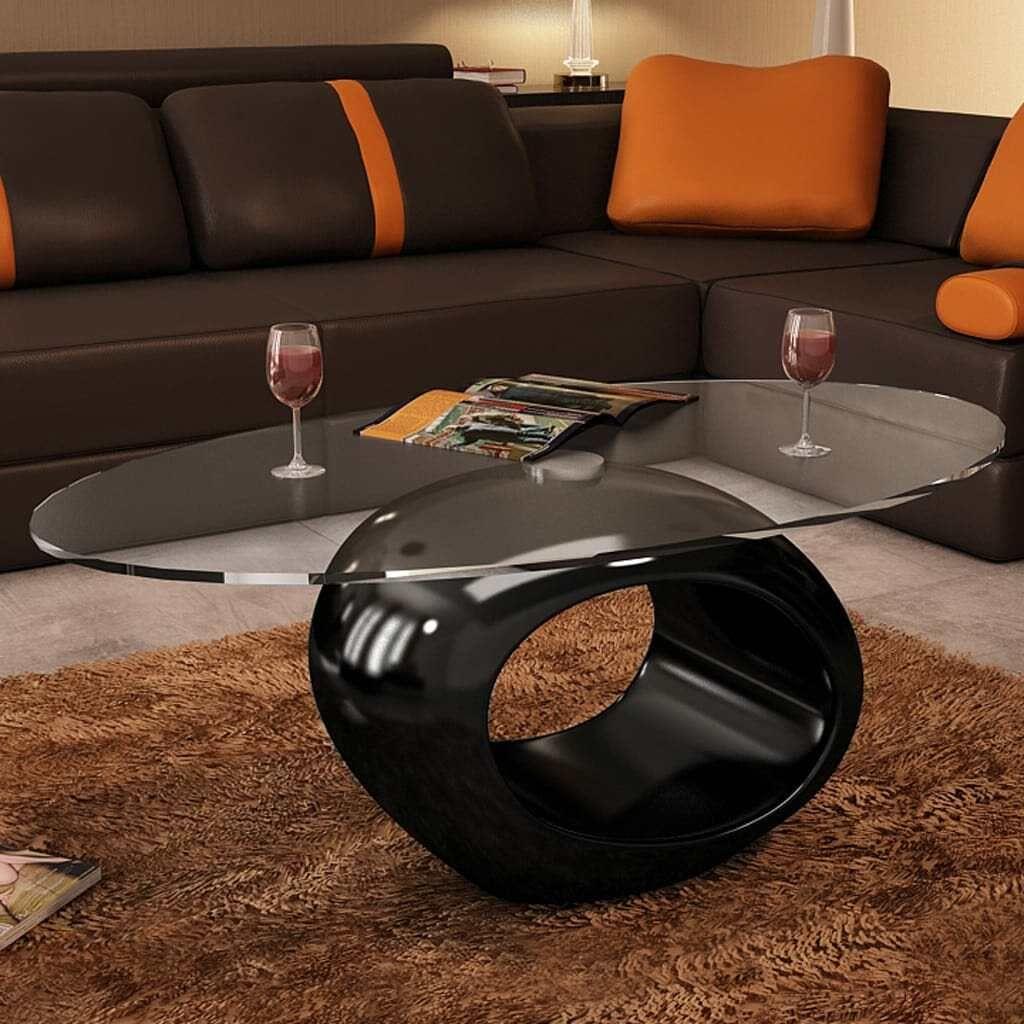 Table basse vidaXL avec tablette ovale en table de salon en verre ...