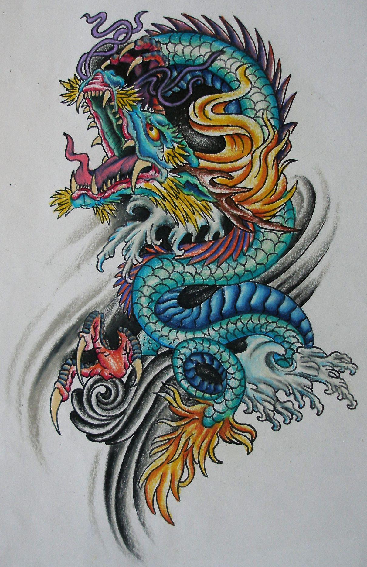 Asian Dragon Tattoo Flash