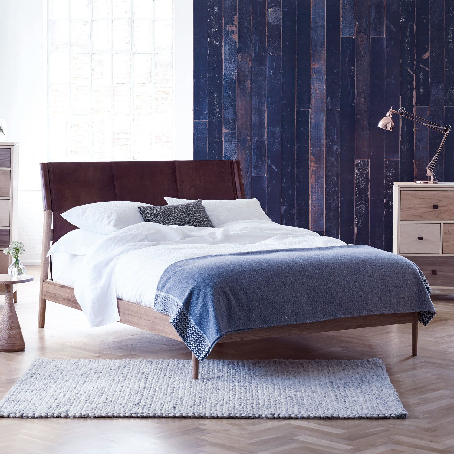 Heals Nordic King Size Bed With Leather Headboard - Bed