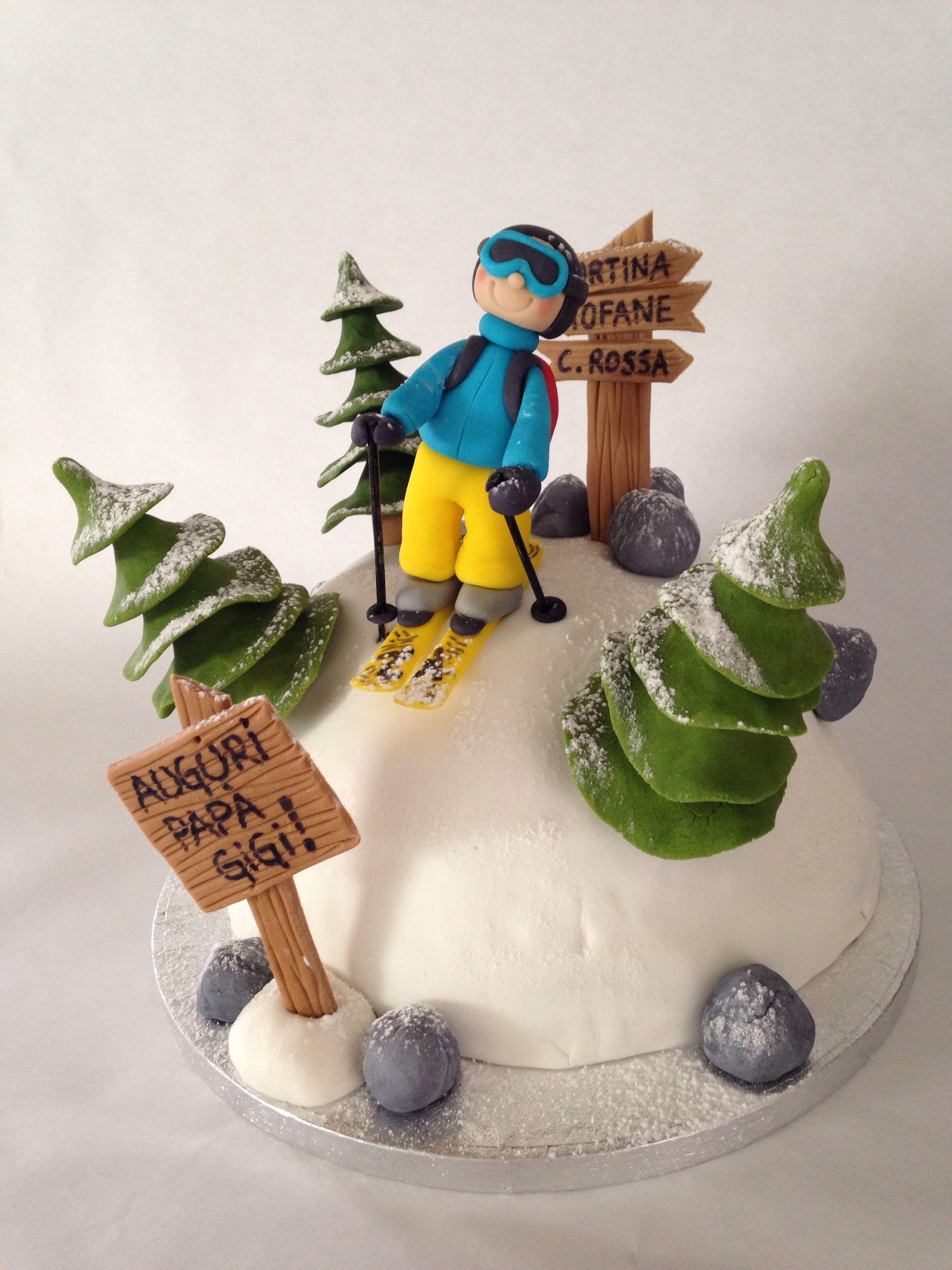 Skisnowwinter cake  Ski Torte in 2019  Pinterest