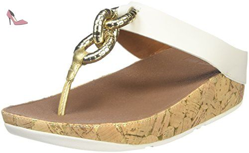 FitFlop Lulu Leather Toepost, Sandales Bout Ouvert Femme, White (Urban White), 36 EU