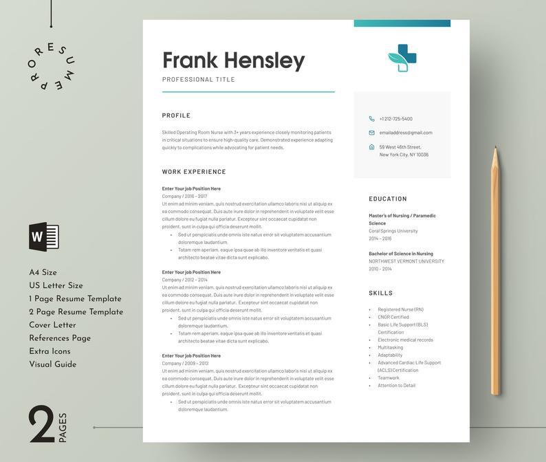 Medical Resume Template For Word Nurse Resume Template Etsy Medical Resume Template Nursing Resume Template Medical Resume