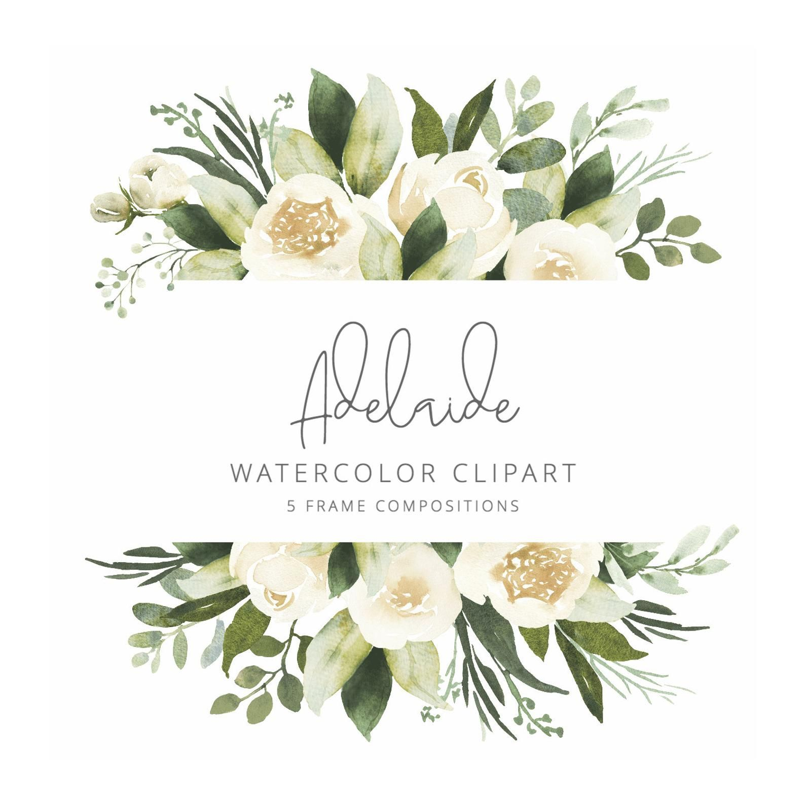 Adelaide Watercolor Clipart With White Roses And Eucalyptus Etsy Watercolor Clipart Flower Frame Clip Art