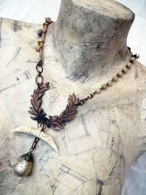 Bringing Forth the Fire. Antique Victorian Tribal Assemblage Necklace.