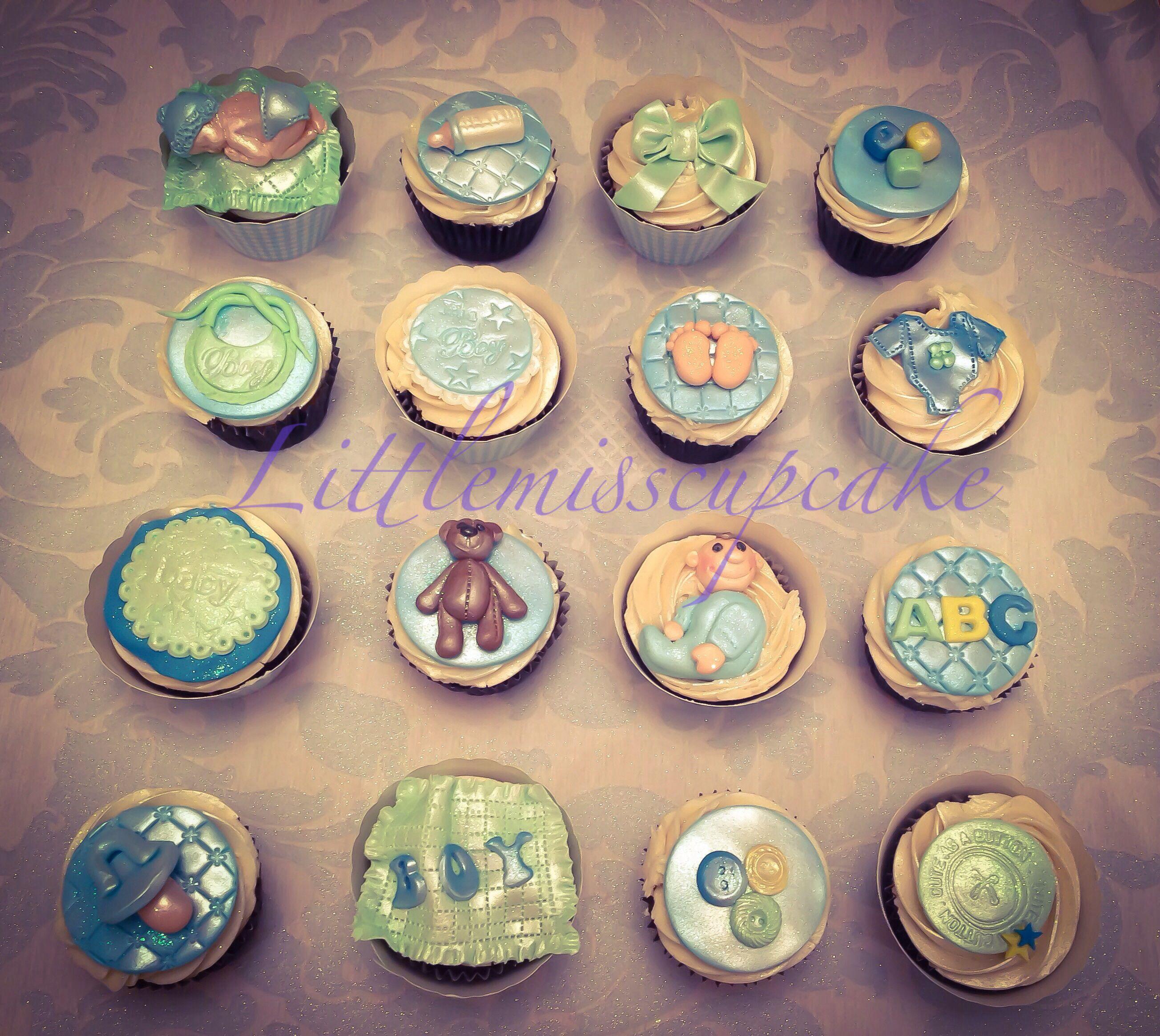 Baby boy baby shower cupcakes by littlemisscupcake exmouth Devon