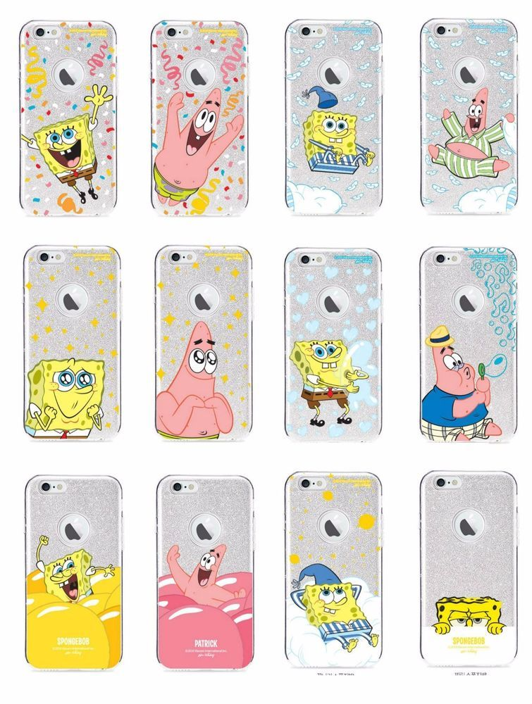 50d38542a03 SPONGEBOB iPhone 6/6S/Plus Cell Phone Soft Jelly Shiny Case Cover Protector  #KAKAOFRIENDS