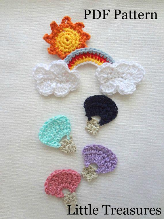 Crochet Pattern PDF - Hot Air Balloon, Rainbow, Cloud, Sun, applique ...