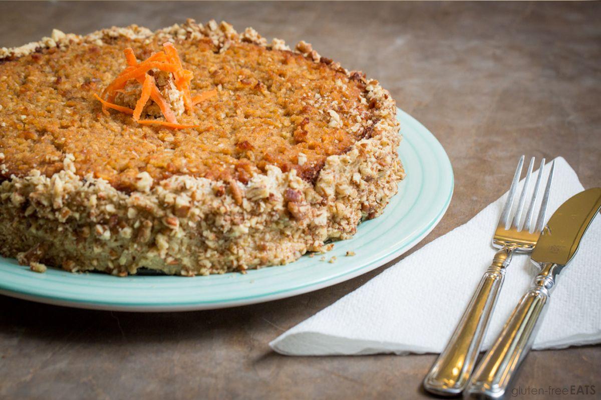 Carrot cake made with shredded carrots, applesauce