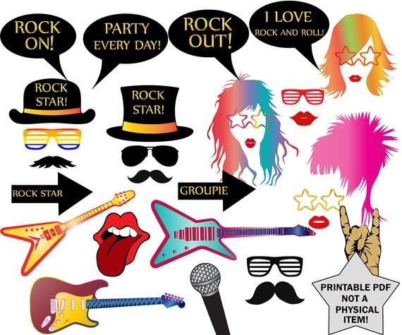 Rock Party Photo Booth Props: ROCK STAR PARTY Rock Party Props,Music Photo Props,Birthday Party Pr