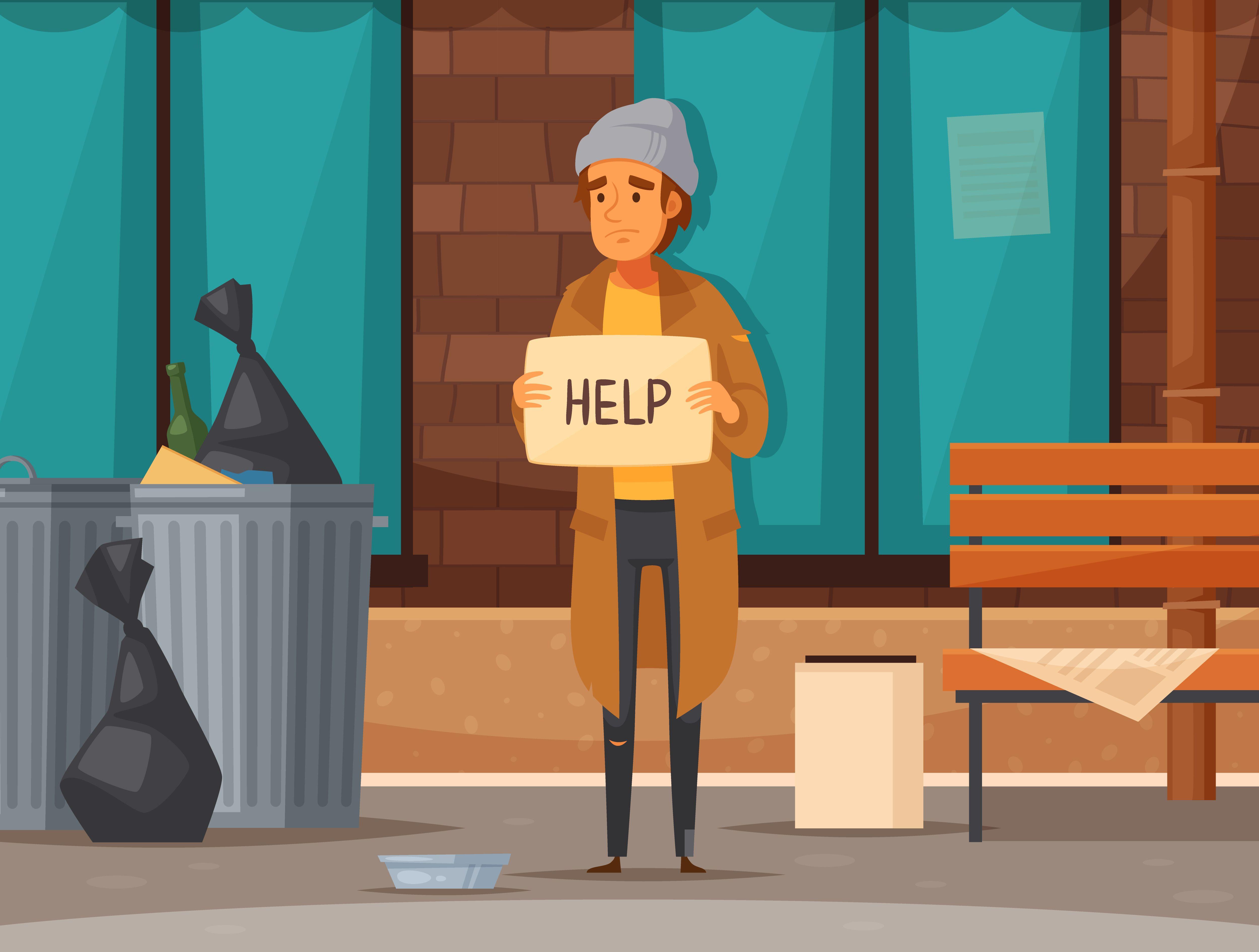 Homeless Person Person Cartoon Homeless Cartoon