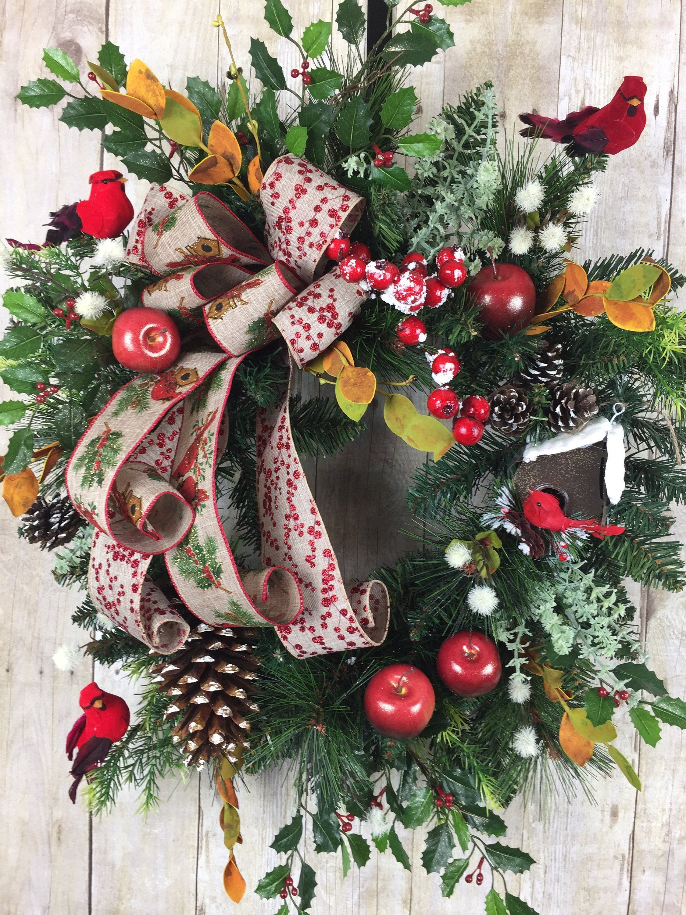 Christmas Wreath For Front Door Large Rustic Winter Holiday Outdoor Decorations Farm House Decor By Spratsdesign On