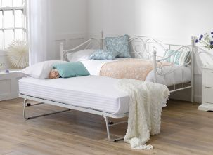 Amy White Metal Under Bed Trundle Twin Bedroom Sets Bedroom