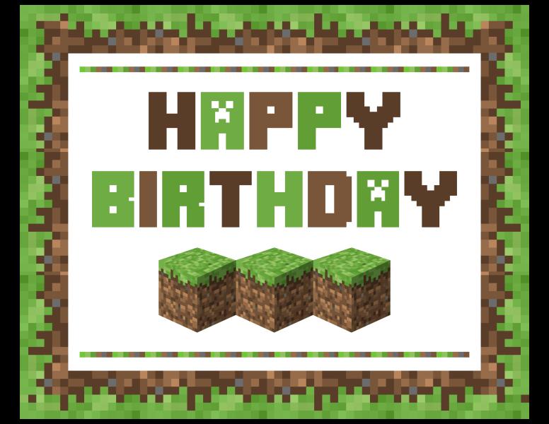 Minecraft Happy Birthday Cake