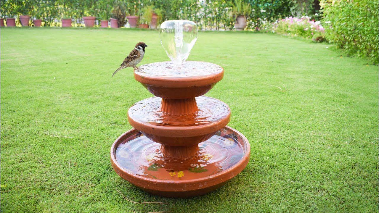 DIY fountain using Clay Saucers Birds Bath Fountain