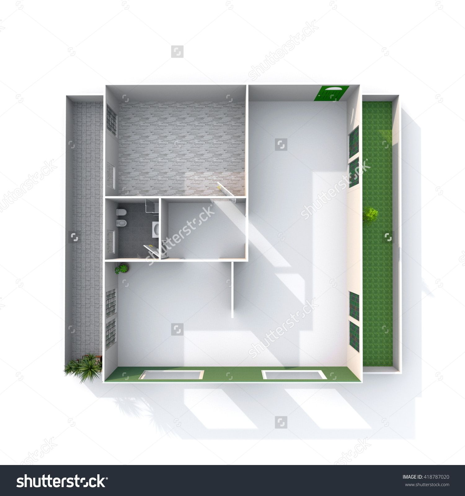 3d interior rendering of empty architectural paper model home