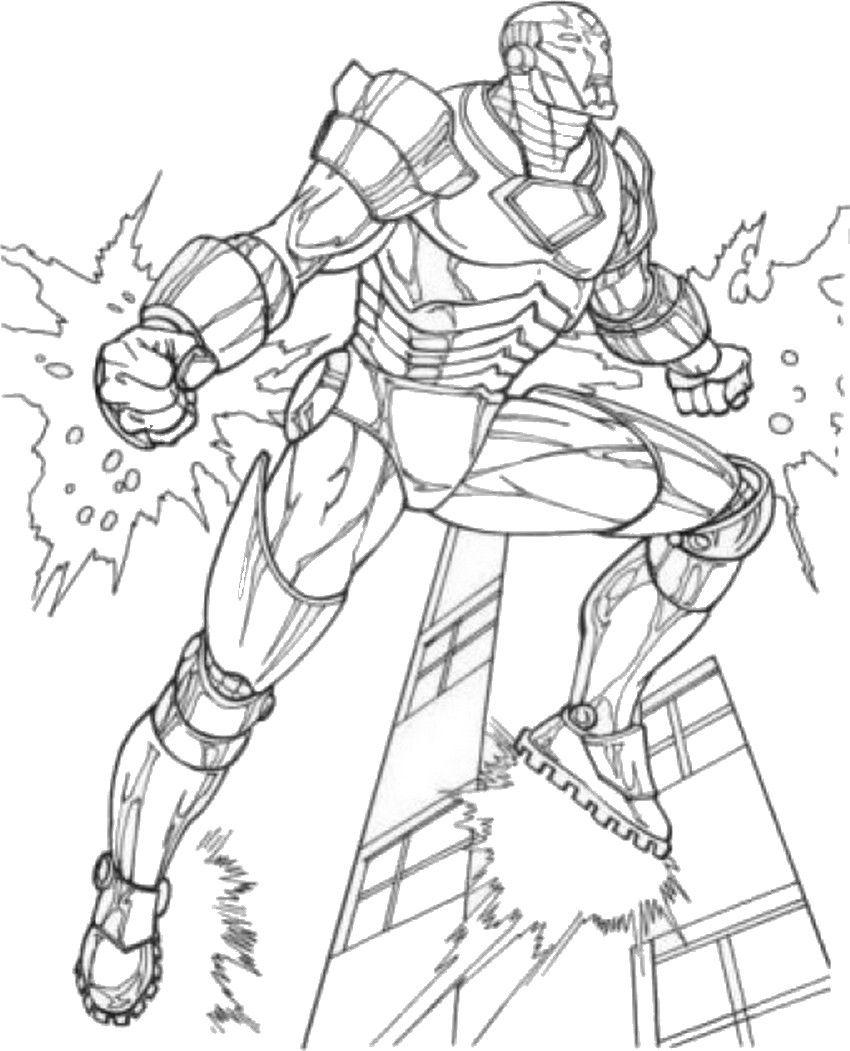 coloriage the avengers iron man en vol
