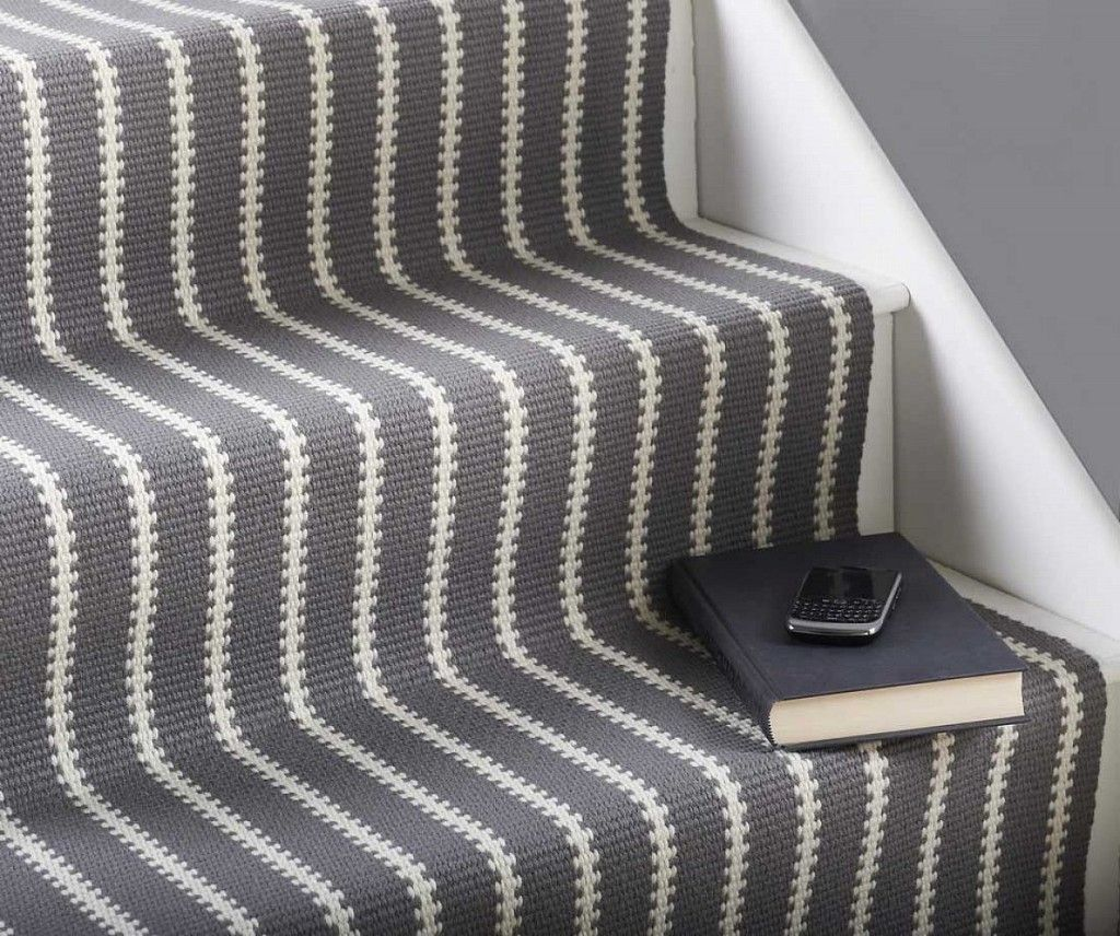 Endearing Stair Treads Carpet For Interesting Stair Flooring Ideas: Lovely  Stripped White And Grey Colors