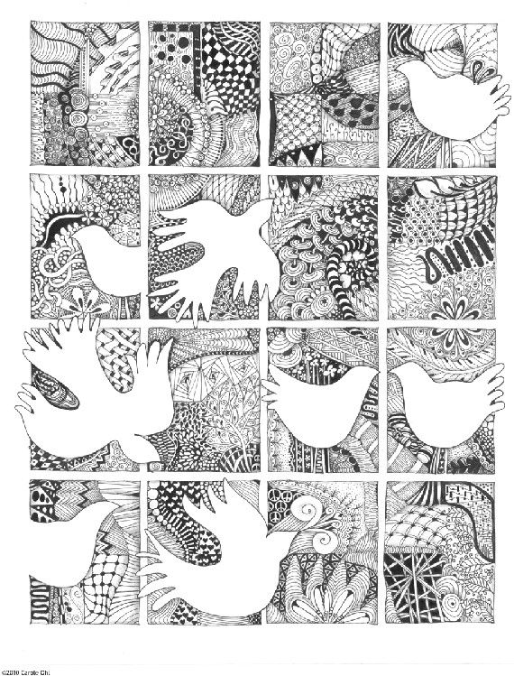 Peace WIndow Zentangle Inspired Print By Openseed On Etsy 4040 Delectable Zentangle Patterns To Print