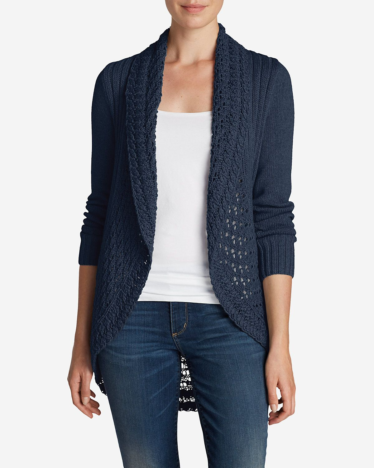 Womens Navy Blue Cardigan Sweater Baggage Clothing