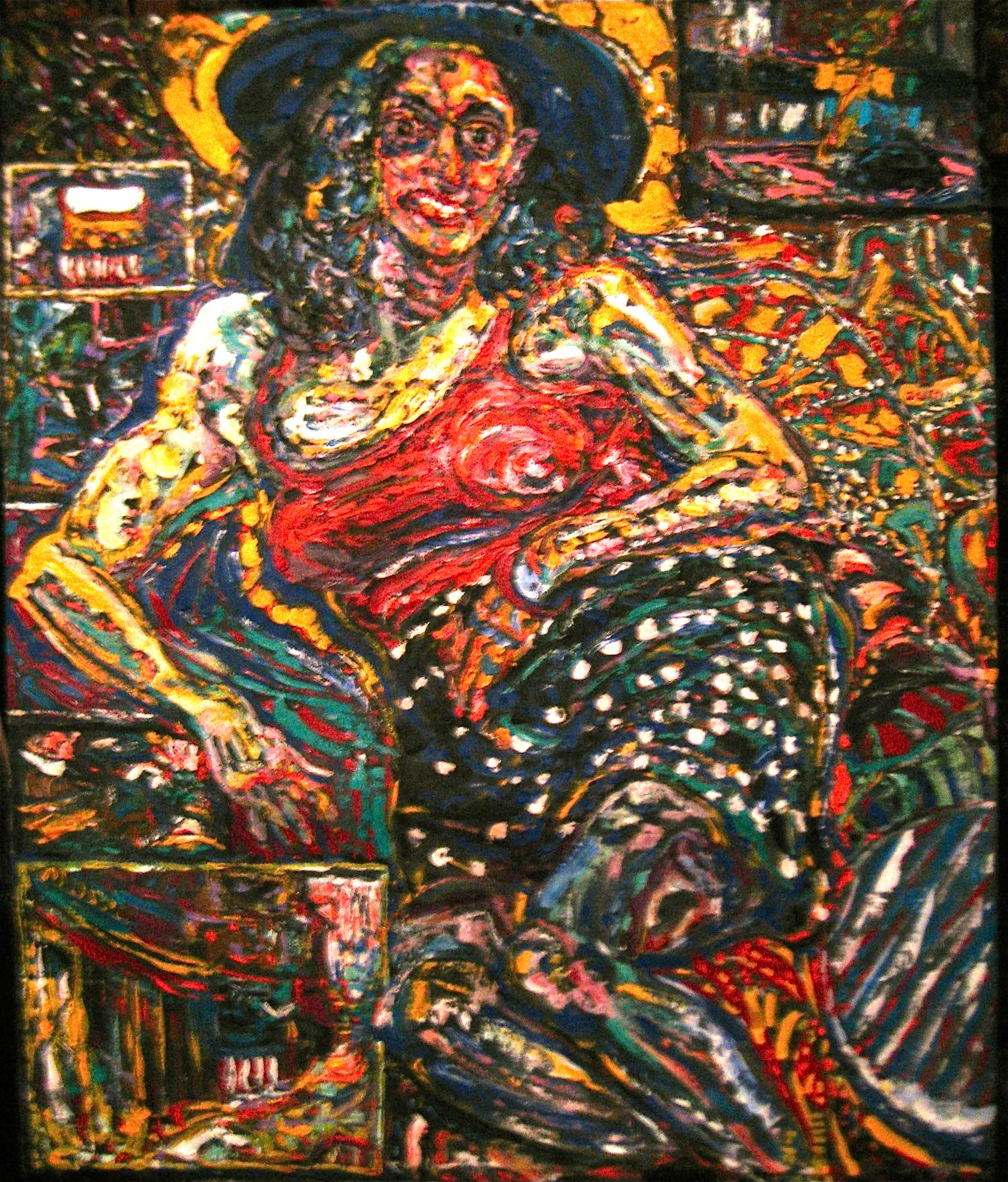 """PHILIP LAWRENCE SHERROD NA (STREET*PAINTER)-*PAINTING*-..(*NYC*/-..*PLEIN*AIR*!)?(*FOUNDER*/-..-*STREET*PAINTERS)!? """"THE*LADY-..(..-A..B./-..WF'THA'*HAT(!)?-..&*POLKA*DOT*SKIRT(!)?-. .*COMES*/- .. *FROM/-..*YONKERS!)""""(?)  MEDIUM: OIL/-&*ACRYLIC SIZE: 58"""" X 48"""" DATE: 2010  artist's(C)copyright"""