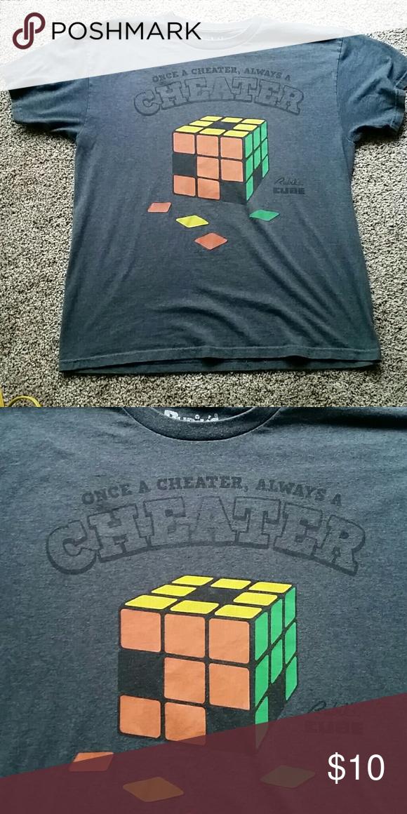Rubiks cube mens lrg Back of tshirt is plain.  Awesome shirt if your a rubiks cube fan. Bin 12 Shirts Tees - Short Sleeve