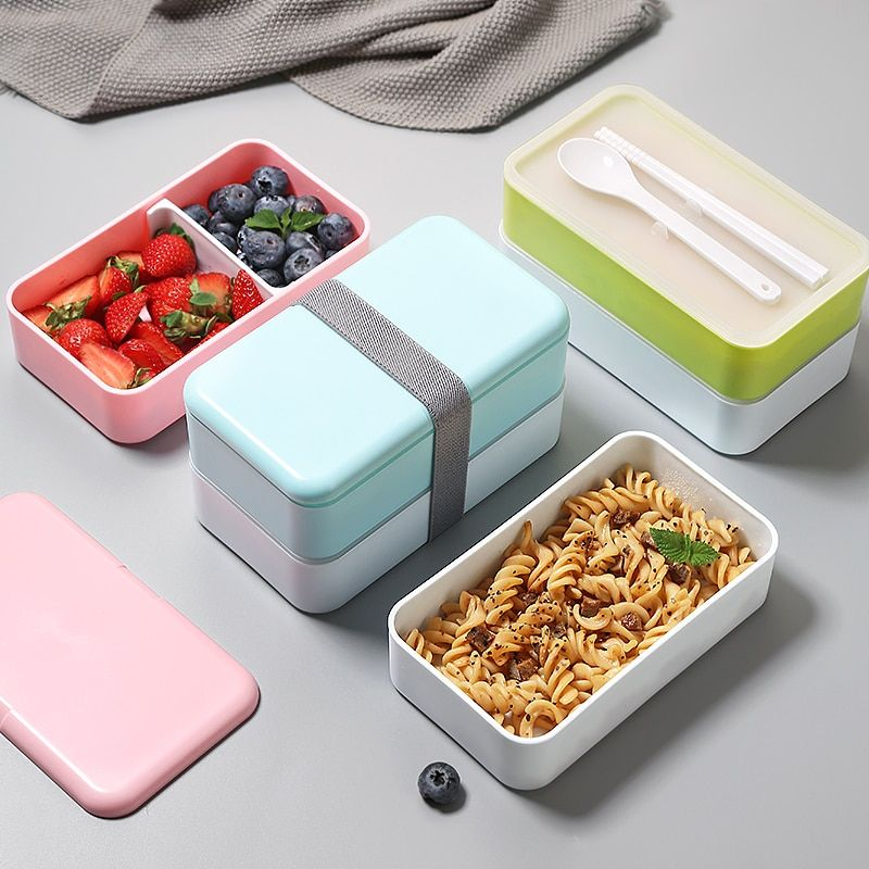 Double Layer Lunch Box with Cutlery Set Leak Proof School Office Container Box